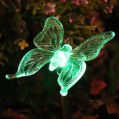 Güneş RGB Kelebek Bahçe Stake Işık