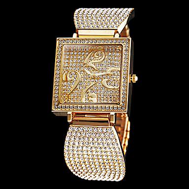 Women's Full Diamante Square Dial Steel Band Quartz Analog Wrist Watch (Assorted Colors)