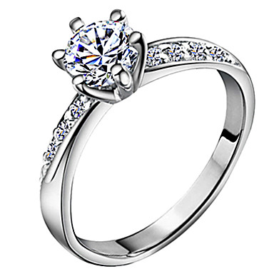 Women's Band Ring Silver Zircon Silver Plated Six Prongs Classic Love Bridal Wedding Anniversary Gift Daily Costume Jewelry