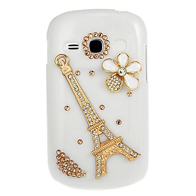 Samsung Galaxy Fame S6810 için Eyfel Kulesi Elmas Noktası Matkap Desen Beyaz Hard Case Arka Kapak