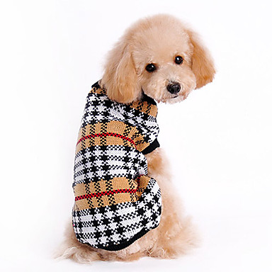 cheap Dog Clothing & Accessories-Cat Dog Sweater Dog Clothes Plaid / Check Brown Woolen Costume For Husky Labrador Bulldog Spring &  Fall Winter Men's Women's Classic Keep Warm
