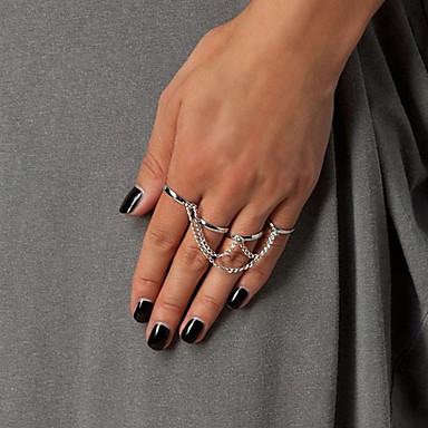 Anéis Pesta / Diário / Casual Jóias Prata Chapeada / Chapeado Dourado Feminino Anéis Statement 1pç,7