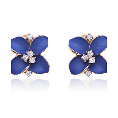 Oorknopjes Luxe Sieraden Kristal Verguld imitatie Diamond Bloemvorm Blauw Sieraden Voor Feest Dagelijks Causaal 2 stuks
