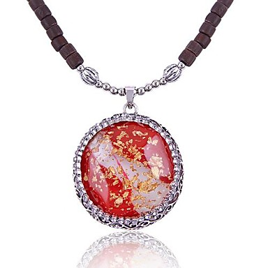 (1 Pc)Ethnic (Section gems) Zircon Pendant Necklace(red)