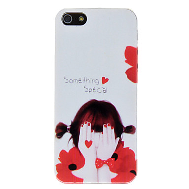 Girl with Red Heart Pattern PC Hard Case for iPhone 5/5S