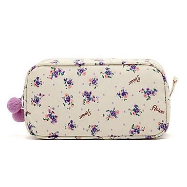 Hav Balls ile Quadrate Taze Küçük Mor Çiçek Desen Makyaj / Kozmetik Çantası Kozmetik Depolama