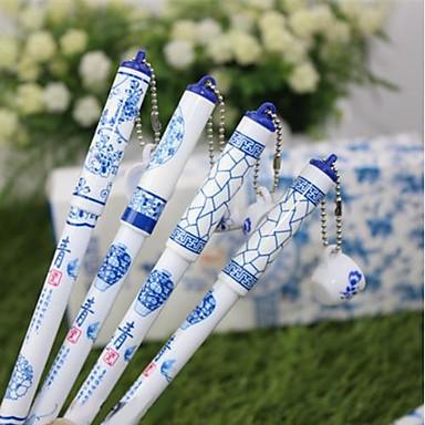 Blå og hvid porcelæn Cup Ornament Black Ink Gel Pen