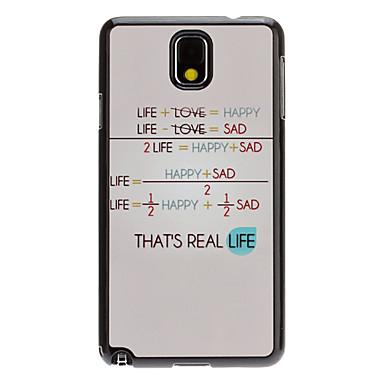 Hayat Formula Çıkartması Desen Ayna Samsung Galaxy Note3 N9000 için Hard Case Arka Smooth