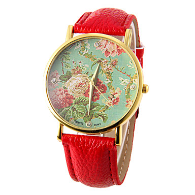 Women's Quartz Wrist Watch Casual Watch PU Band Flower Fashion Black White Red Brown Green Rose Rose Gold