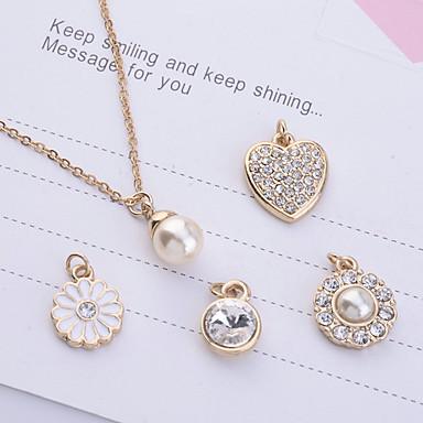 Pentru femei Perle Seturi de bijuterii / Coliere cu Pandativ - Imitație de Perle, Ștras, Placat Auriu Auriu Coliere Pentru Petrecere, Zilnic, Casual