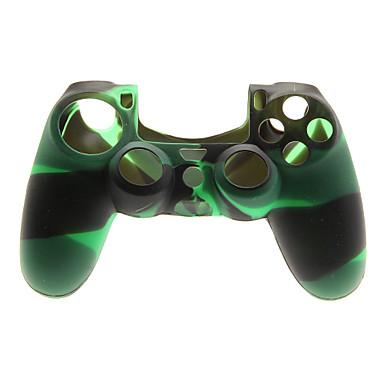 Yeşil + Siyah Protctive Silikon Kılıf ve PS4 için 2 ADET Pembe Thumb Stick Sapları