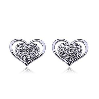 Kadın's Kalp Yapay Elmas Vidali Küpeler - Kalp Gümüş Altın Küpeler Uyumluluk Düğün Parti Günlük