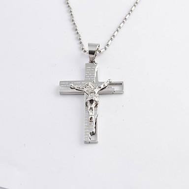 billiga Halsband-Herr Hänge Halsband Titanstål Guldpläterad Kors damer Mode  Svart Silver Brun Halsband Smycken 6220a8510269d