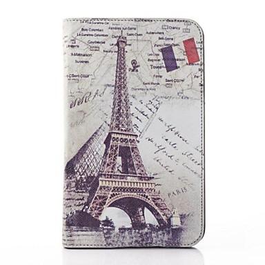 Için Samsung Galaxy Kılıf Satandlı / Flip Pouzdro Tam Kaplama Pouzdro Eiffel Kulesi PU Deri Samsung Tab 3 Lite