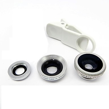 Universal Clip Lens Wide Angle + Macro + Fisheye Lens - Silver for iPhone 8 7 Samsung Galaxy S8 S7 #01331964