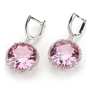 Серьги-слезки Циркон Серебрянное покрытие Бижутерия Розовый Для вечеринок Повседневные Бижутерия
