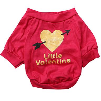 Cachorro Camiseta Roupas para Cães Coração Rosa Algodão Ocasiões Especiais Para animais de estimação