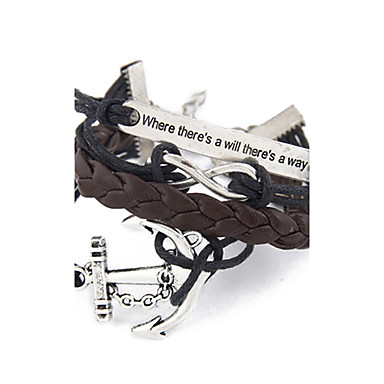 Kadın's Wrap Bilezikler - Çapa, Sonsuzluk Kişiselleştirilmiş, İlham Verici Bilezikler Siyah / Kahve Uyumluluk Yılbaşı Hediyeleri Parti Günlük