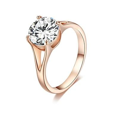 Kadın's Kristal / Altın Kaplama Prenses Bildiri Yüzüğü - Klasik halka Uyumluluk Düğün / Parti / Parti / Gece