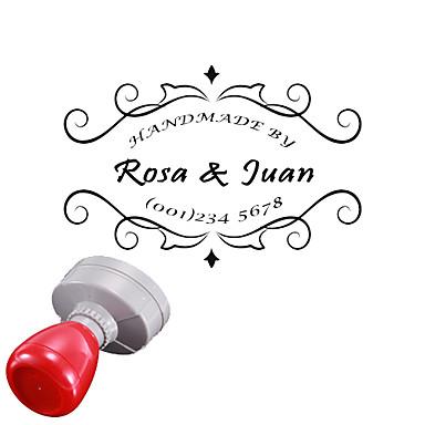 Casamento 30x40mm personalizada & Flor Negócios Padrão 3 Lines Oval Gravado Penetração Signet Name Stamp (dentro de 10 Cartas)