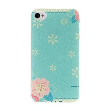 IPhone 4/4S için Litchi Doku Küçük Taze Florals Desen Plastik Hard Case