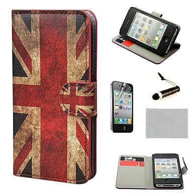 iPhone 4S를위한 대를 가진 COCO FUN ® 유니온 잭 패턴 레트로 영국 깃발 지갑 PU 가죽 하드 케이스 필름과 스타일러스를 포함