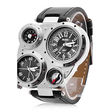 Oulm Homens Relógio Militar Relógio de Pulso Quartzo Quartzo Japonês Dois Fusos Horários PU Banda Preta