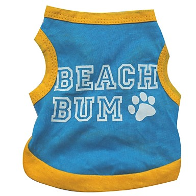 Cachorro Camiseta Roupas para Cães Carta e Número Azul Algodão Ocasiões Especiais Para animais de estimação Homens Mulheres Casual