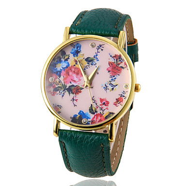 Women's Quartz Wrist Watch Hot Sale PU Band Flower Fashion Black White Red Brown Green Rose Rose Gold