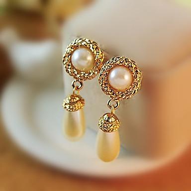 Feminino Brincos Compridos Europeu bijuterias Imitação de Pérola Zircônia Cubica Strass Liga Caído Jóias Para
