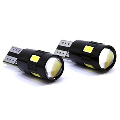 SO.K 2pcs T10 Mașină Becuri 3 W SMD 5630 150 lm 6 LED Lumini de interior