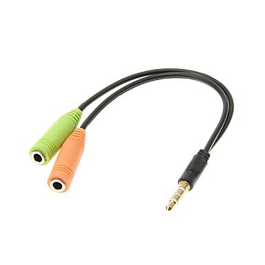 2 Kadın Kablosu 015M 0.5FT Yardımcı Aux Ses Stereo Kablosu 3.5mm Jack Erkek