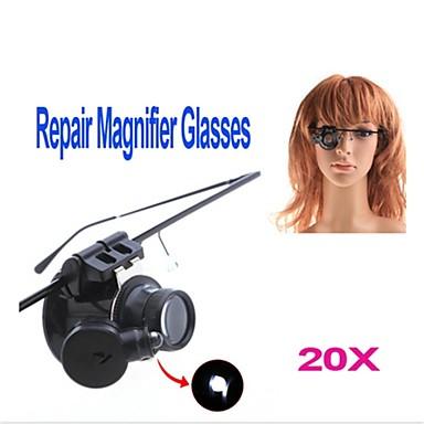 ZW-9882-2 ochelari Style Single 20X Lupa cu lumină albă LED-uri (2 x CR1620)