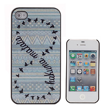 Double Circle Wild Geese Coloured Drawing Pattern Black Frame PC Hard Case for iPhone 4/4S