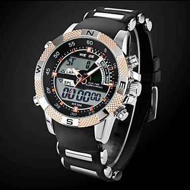 Men's Military Style Gold Case Multi-Functional Dual Time Zones Rubber Band Wrist Watch Cool Watch Unique Watch