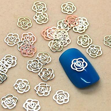 200pcs boş çiçek şekli altın metal dilim tırnak sanat dekorasyon