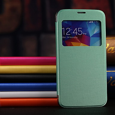 PU Leather Case Hard Back Case with View  Window for Samsung Galaxy S5 I9600