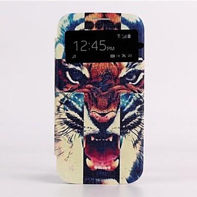 Pentru Samsung Galaxy Carcasă cu Fereastră / Auto Sleep / Wake / Întoarce / Model Maska Corp Plin Maska Animal PU piele Samsung S4