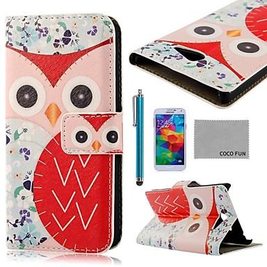Pentru Portofel / Titluar Card / Cu Stand / Întoarce / Model Maska Corp Plin Maska Bufniță Greu PU piele Samsung S5