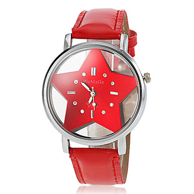 Mulheres Quartzo Relógio Casual PU Banda Desenho Preta Branco Azul Vermelho Laranja Rosa