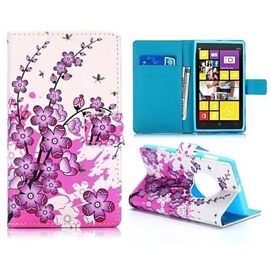csinos szilvavirágok pénztárca stílus mágneses flip-állvány TPU, műbőr tok Nokia Lumia 1020 (vegyes színek)