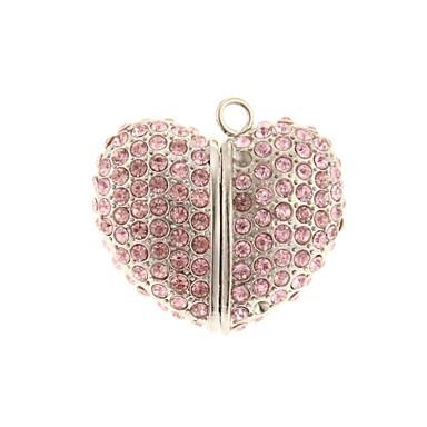 zp 64gb pembe kalp şeklinde kristal desen bling elmas, metal tarzı USB flash sürücü