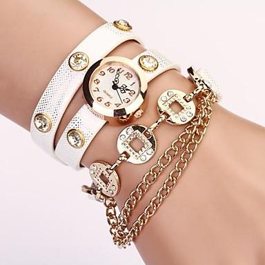 Women's White Round DIal Pu Cion Pendant Band Quartz Casual  Wristwatch
