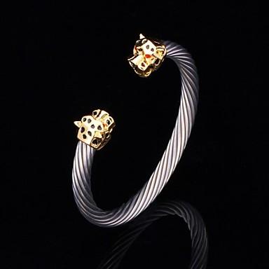 U7® New Cool Lion Head Cuff Bangle 18K Gold Plated Titanium Steel Lieopard Bracelet for Men or Women