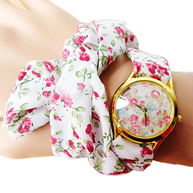Kadın's Moda Saat Bilezik Saat Quartz Bant Çiçekli Bohem Beyaz