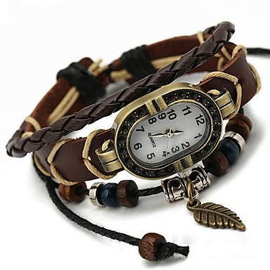Kadın's Bilezik Saat Quartz Gündelik Saatler Deri Bant İhtişam Bohem Moda Siyah - Kahverengi