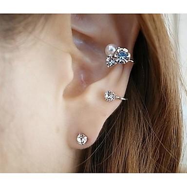 Pentru femei Cercei Stud Cătușe pentru urechi Imitație de Perle Ștras Aliaj Bijuterii Nuntă Petrecere Zilnic Casual