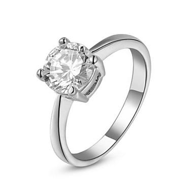 Kadın's Bildiri Yüzüğü - Kristal, Altın Kaplama, Simüle Elmas 6 / 7 / 8 Gümüş / Altın Uyumluluk Düğün / Parti / Nişan / Kübik Zirconia / Zirkon