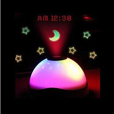 sensor de toque colorido projector tempo relógio digital de luz (branco, 3xAAA)