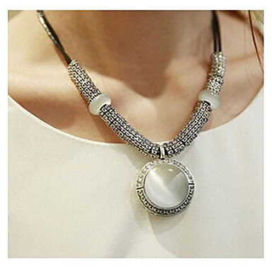 cheap Necklaces-Women's Synthetic Opal Cat's Eye Pendant Necklace Statement Necklace Ladies Simple Style Fashion Agate Leather Opal White Necklace Jewelry 1pc For Wedding Party Daily Casual